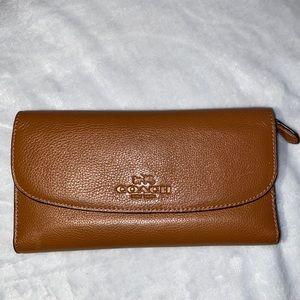 Coach Long Wallet in Cognac Leather.